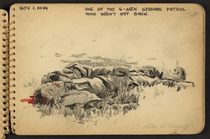 Sketch drawn by World War II soldier