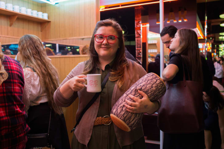 A participant dressed like the Log Lady at a Twin Peaks event.