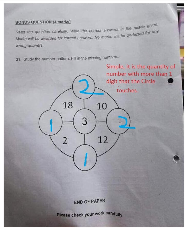 Math problem given to first-graders.
