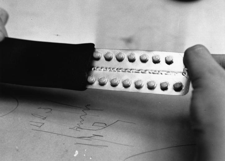 A close-up of contraceptive pills