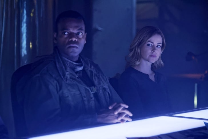 Demore Barnes as Whitley and Amanda Schull as Cassandra Railly.