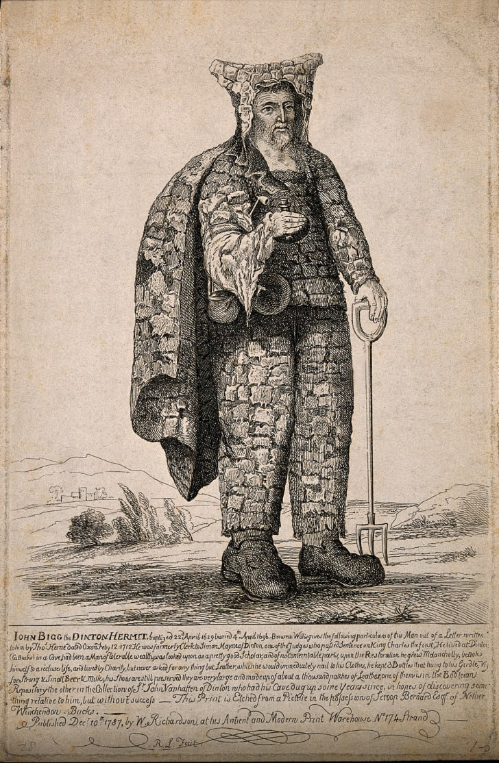 """A 1787 etching of """"eccentric hermit"""" John Bigg."""