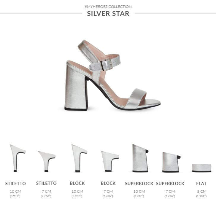 German retailer Mime et Moi makes shoes that come with interchangeable heels of different heights, sizes, and shapes.