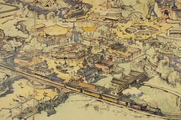 A close-up of Walt Disney's first hand-drawn map of Disneyland