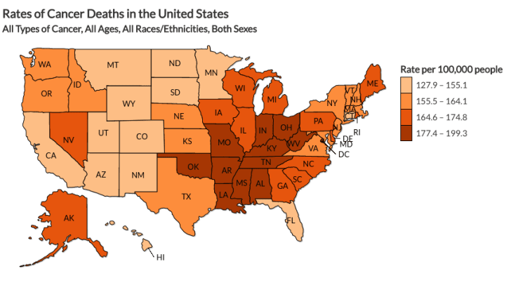 CDC map of rates of cancer deaths in the United States