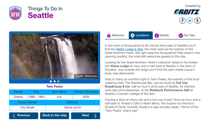 A screenshot of an Orbitz guide to Twin Peaks set locations in Washington with a film still from the show of a waterfall cascading down a cliff