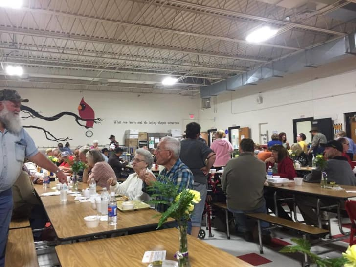 A crowd eating at a ramp festival in Richwood, West Virginia.
