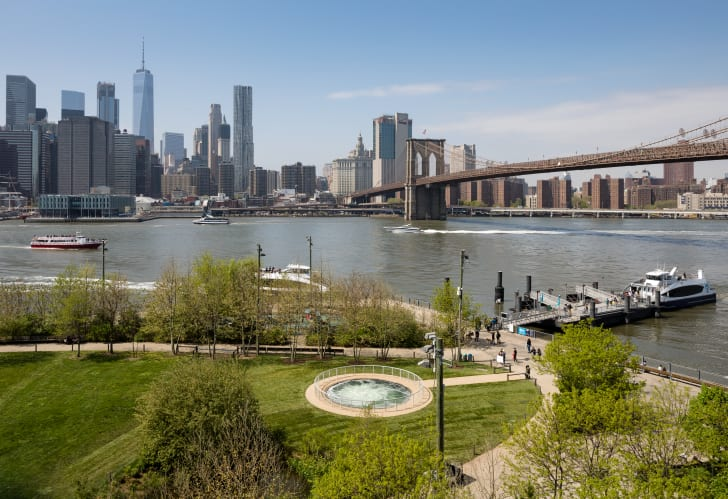 Whirlpool art installation mesmerizes visitors to Brooklyn Bridge Park.
