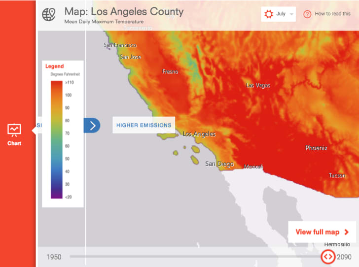 Map shows high temperature projections for southern California in the year 2100.
