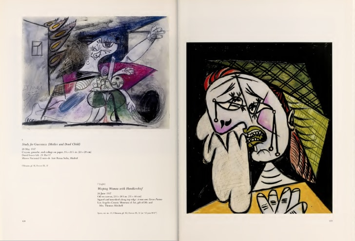 spread from Picasso and the War Years with a crayon sketch on the left and an oil painting on the right, both of Cubist women