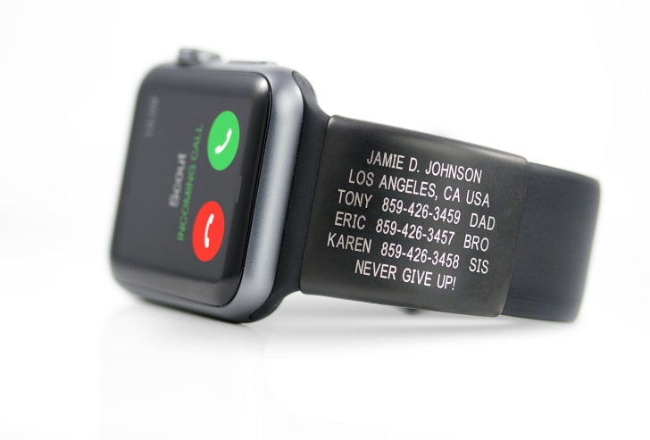 Apple Watch with Road ID plate with contact info