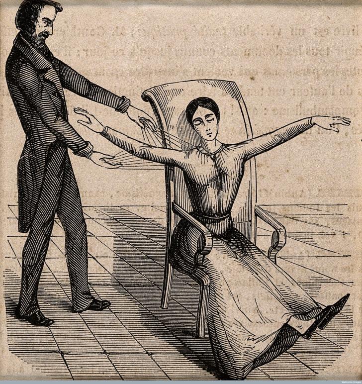 Franz Anton Mesmer mesmerizing a patient.