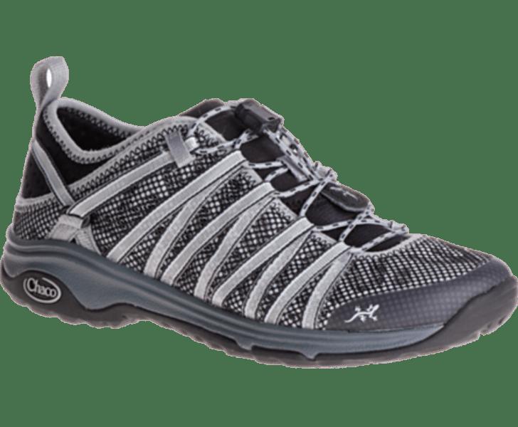 A gray hiking shoe