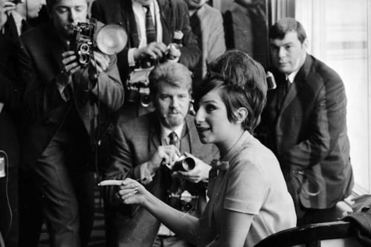 Barbra Streisand poses for the press