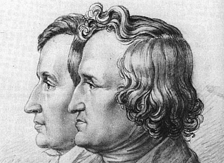 A drawn portrait of Jacob and Wilhelm Grimm