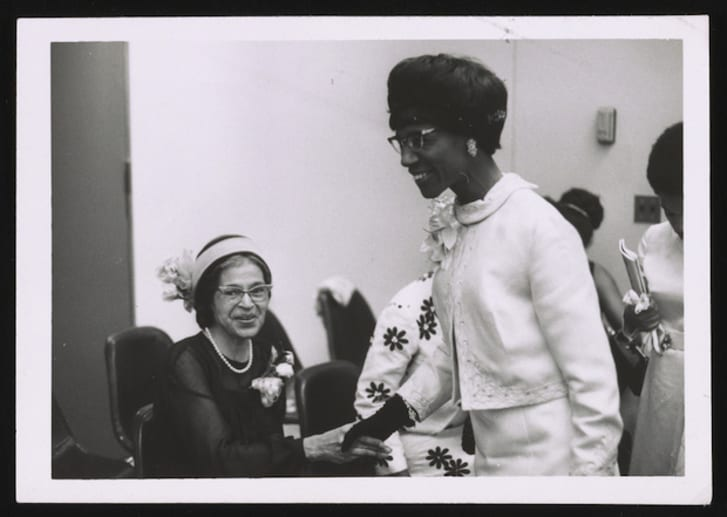Chisholm with Rosa Parks (L) between 1960 and 1970.