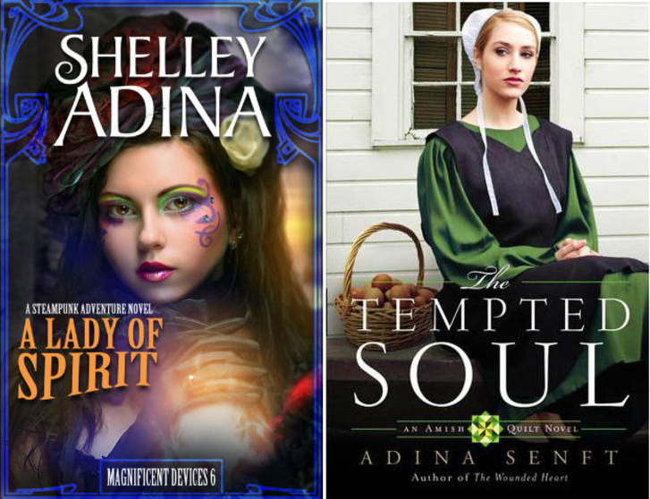 Covers of two romance novels by Shelley Adina