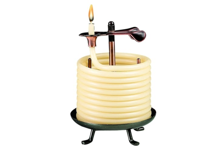 A candle with coiled wax