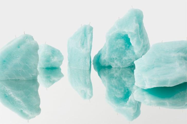 Candles shaped like blue glaciers