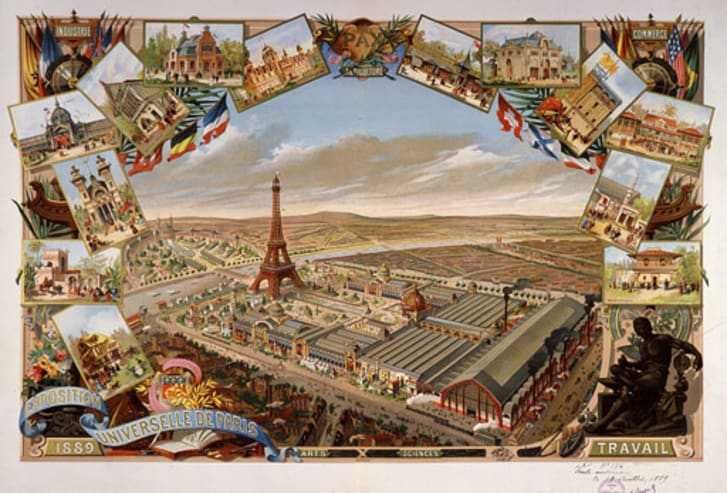 A vintage postcard of the Eiffel Tower