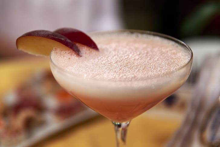 A bellini cocktail
