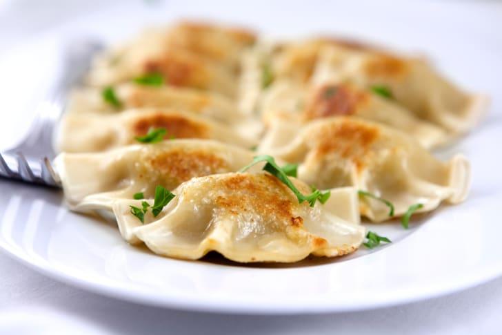 A plate of pierogis
