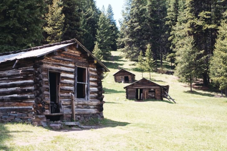 A miner's cabins in the ghost town of Garnet, Montana