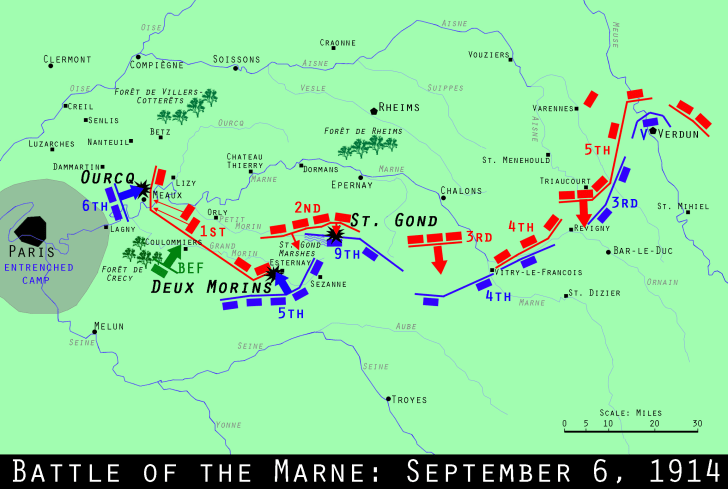 WWI Centennial: The Miracle on the Marne | Mental Floss on battle of verdun map wwi, downloadable maps of battle wwi, allied powers map wwi, battle of tannenberg map wwi,