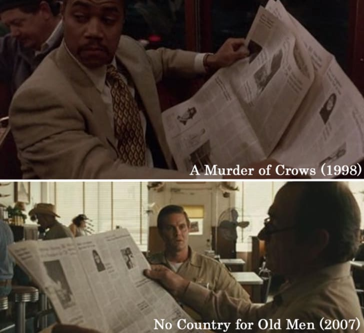 Movies like Old Men, A Murder of Crows, The Texas Chainsaw Massacre, have used the same prop 'Newspaper' with recycled images and headlines.15 Props Used In More Than One Movie