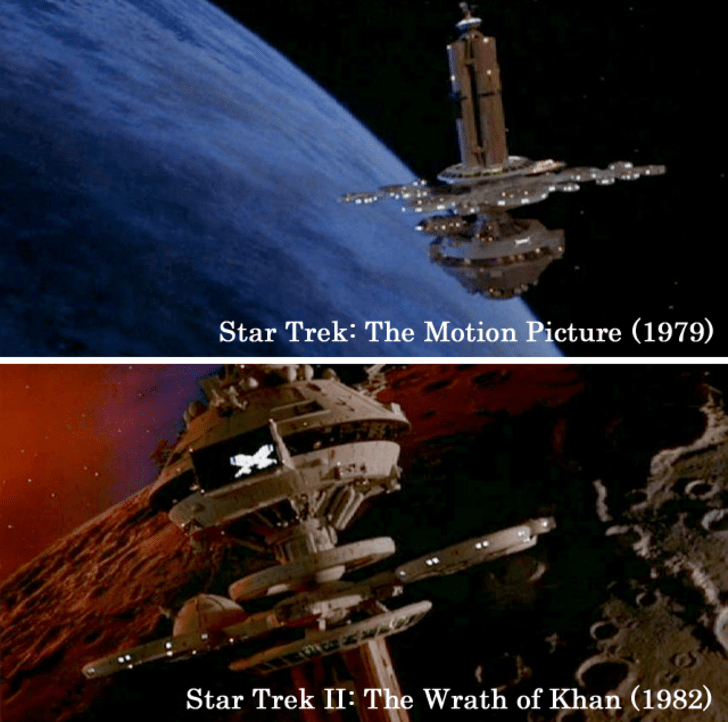 The Star Trek-like Star Trek II: The Wrath of Khan, Star Trek: The Next Generation, Deep Sauce Nine, and Voyager have redressed and re-purposed 'The Space Station Model' from Star Trek: The Motion Picture.15 Props Used In More Than One Movie