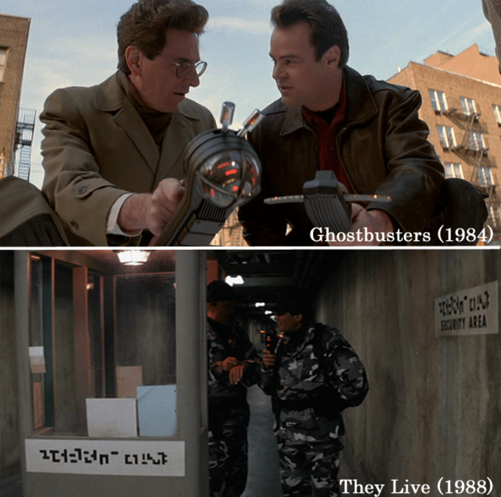 The 'P.K.E. (Psycho-Kinetic Energy ) meter' was initially used in Ghostbusters by Dr. Egon Spengler to find ghosts. After which, the meter was reused in They Liveto track alien life and in Suburban Commando to see a freeze laser.15 Props Used In More Than One Movie