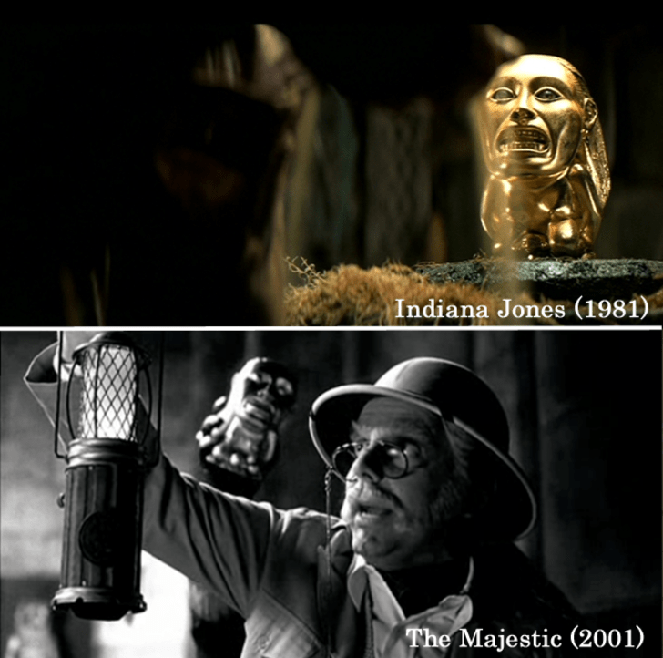 Raiders of the Lost Ak used the 'Iconic Golden Idol,' which Indiana Jones tried to steal in the film, and twenty years later, The Majestic re-used it. The golden Idol has also appeared in Spy Kids 2: Island of Lost Dreams.15 Props Used In More Than One Movie