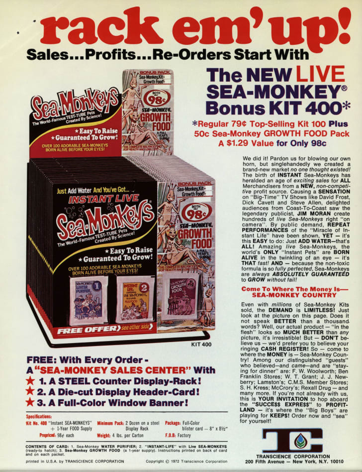 Trade publication ad for Sea-Monkeys, 1972.
