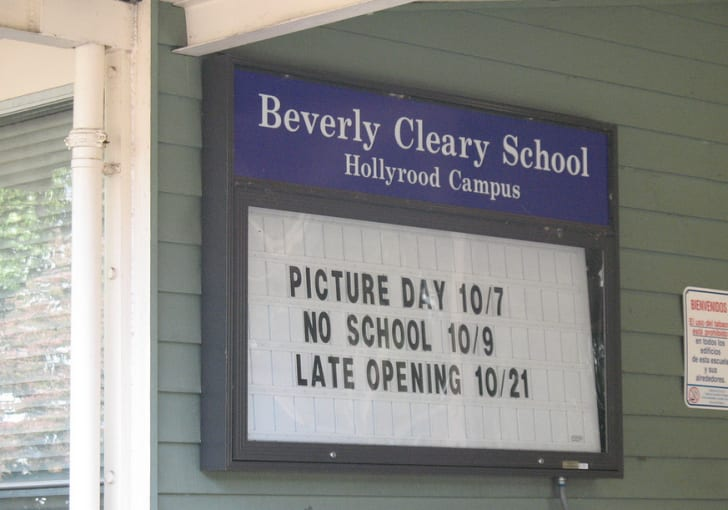 Beverly Cleary School in Oregon