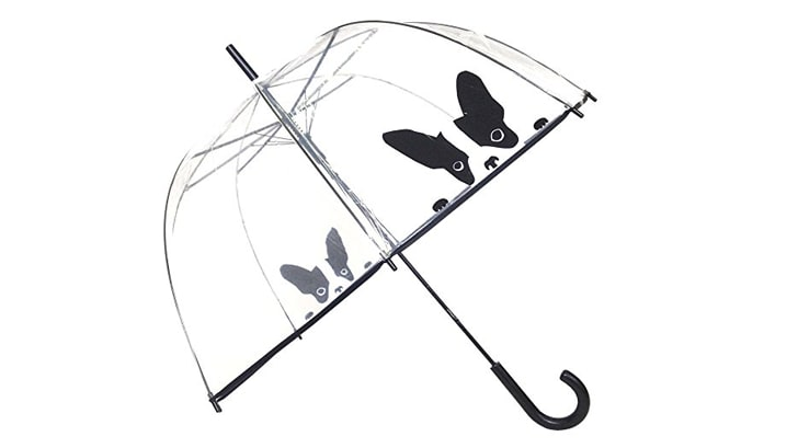 A clear umbrella with a black-and-white design of two French bulldogs on it