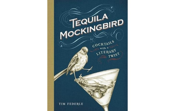 The cover of 'Tequila Mockingbird' shows an illustrated bird perched on a martini glass
