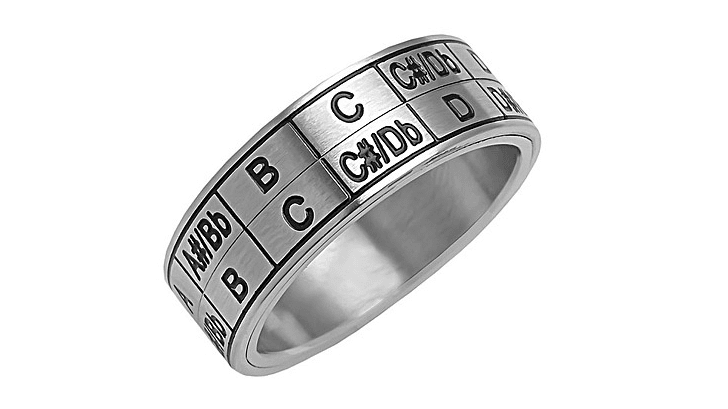 A silver ring with music keys listed on it
