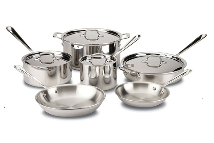 A stainless steel pot and pan set