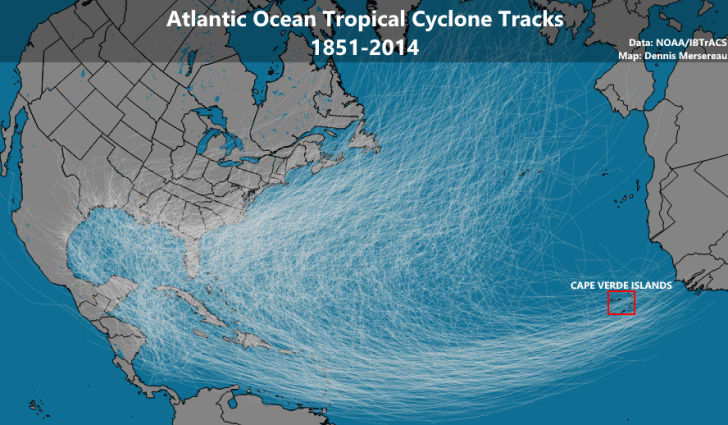 Hurricane tracks over time