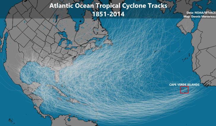 Hurricane tracks over time