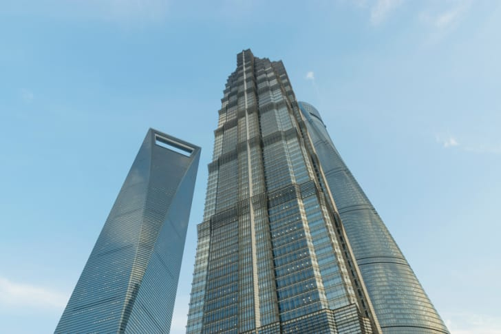 Jin Mao, Shanghai Tower and Shanghai World Financial Center at Lujiazui