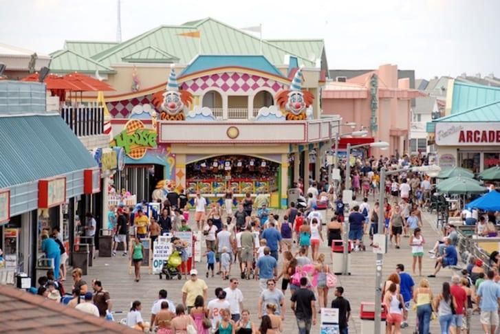 A crowded beachfront boardwalk