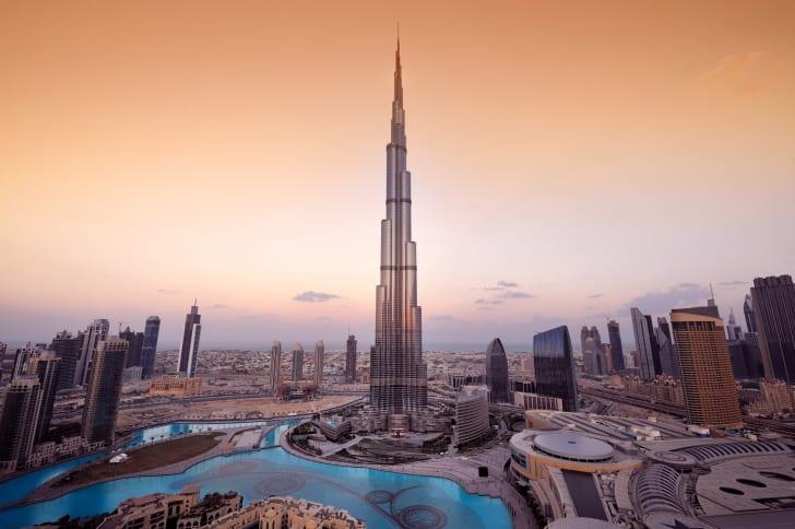 An aerial view of Dubai's Burj Khalifa