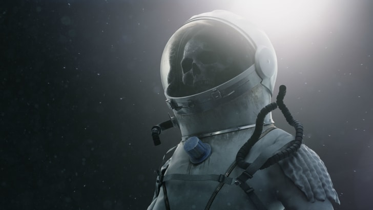 An illustration depicts a skeleton inside of an astronaut suit