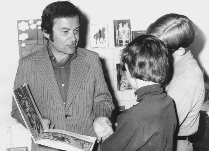 Children's writer and illustrator Maurice Sendak with his book 'Where the Wild Things Are' at the International Youth Library in Munich, 9th June 1971