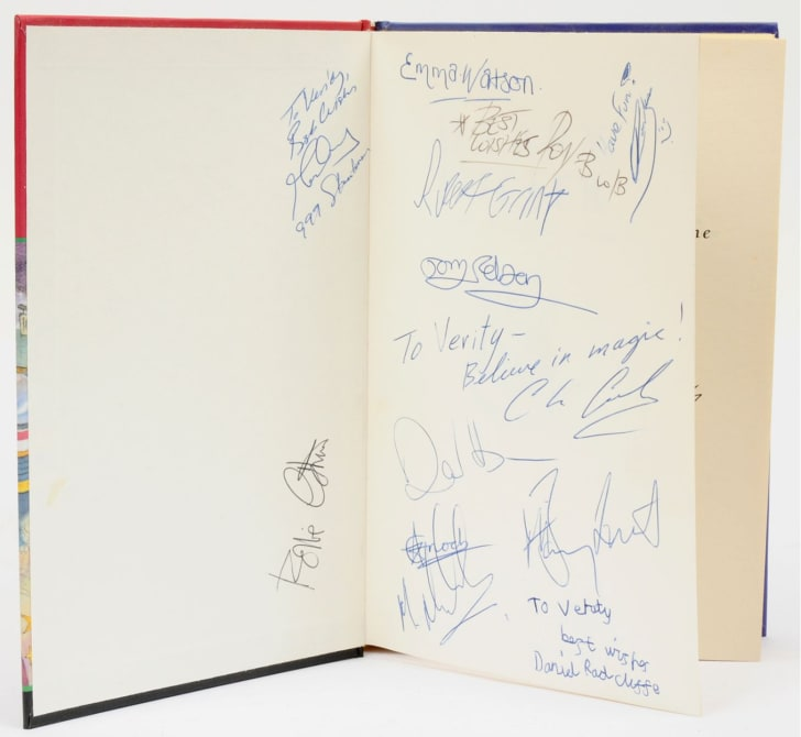 Signatures inside a copy of 'Harry Potter and the Philosopher's Stone'