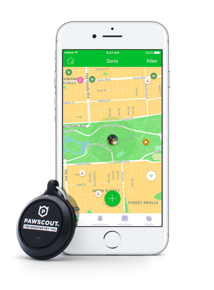 Smart dog tag and smartphone app.