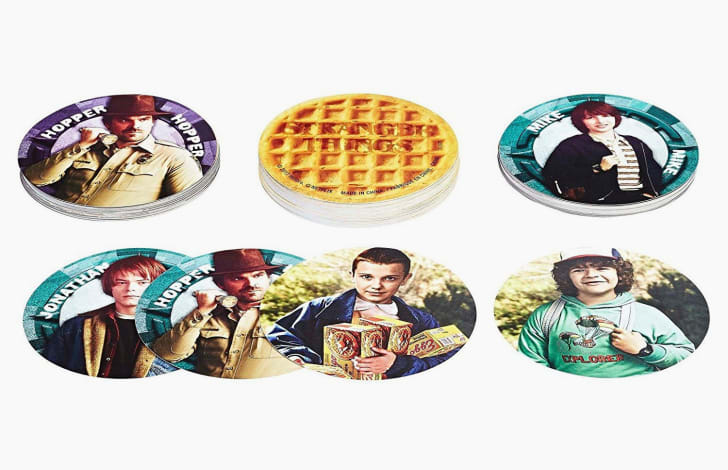 'Stranger Things Eggo Card Game' pieces featuring character images