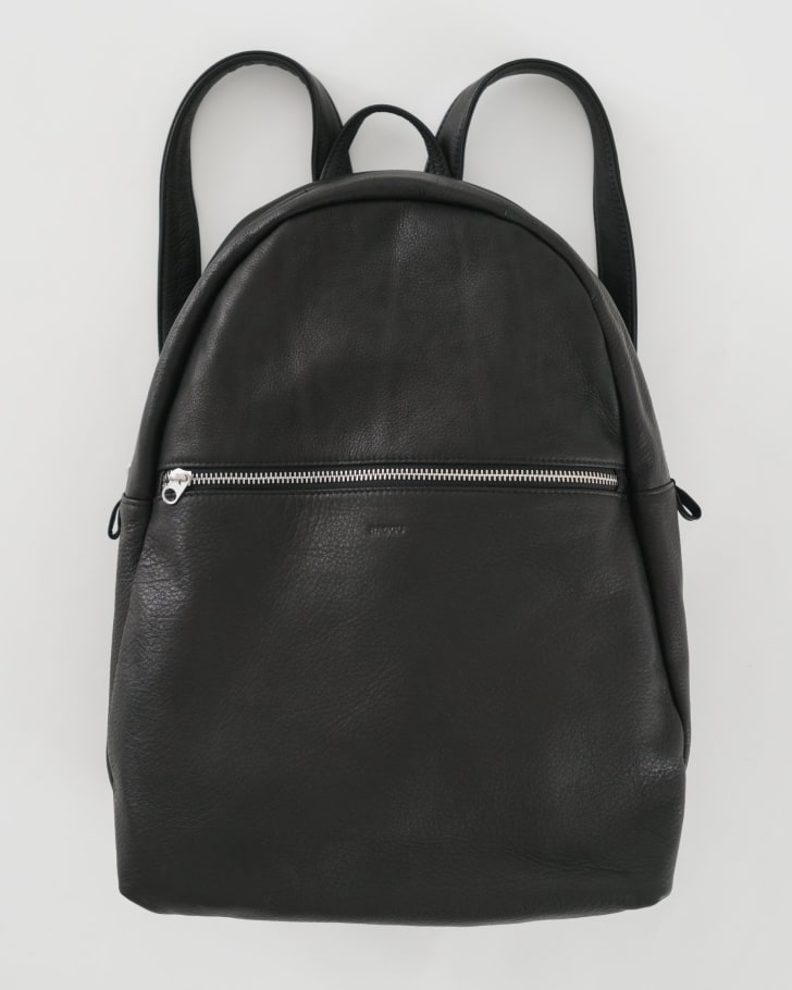 A black leather backpack