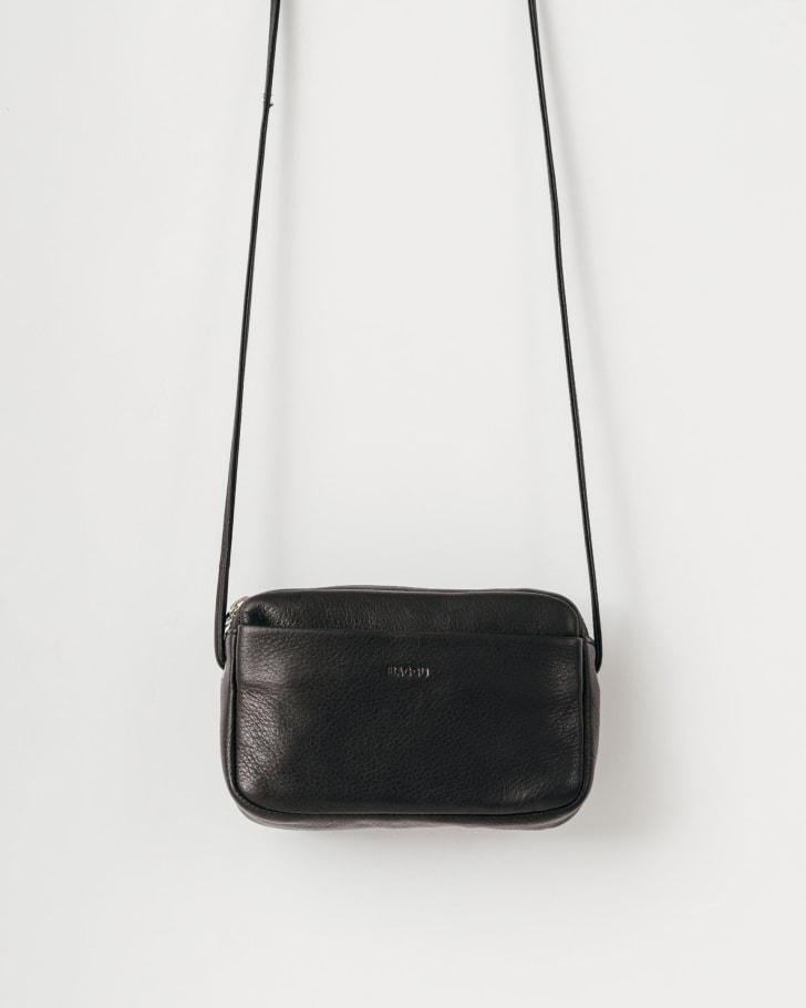 A black mini purse